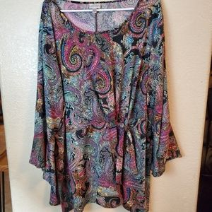 Avenue Paisley Bohemian Bell Sleeve Knotted Tunic